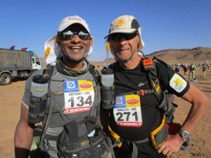 Tony and Sir Ranulph Fiennes during the Marathon des Sables