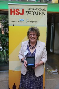 Gill Phillips collecting one of her two HSJ awards